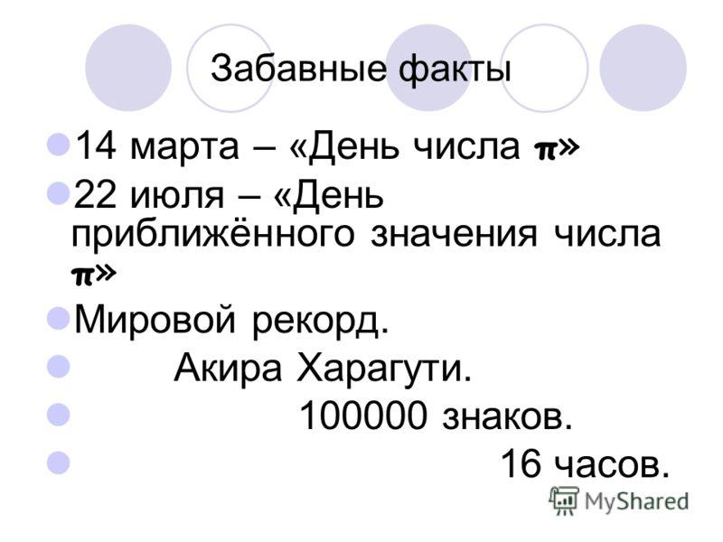 Забавные факты 14 марта – «День числа π» 22 июля – «День приближённого значения числа π» Мировой рекорд. Акира Харагути. 100000 знаков. 16 часов.