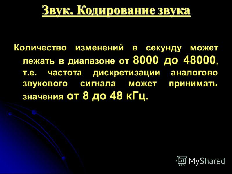Количество изменений в секунду может лежать в диапазоне от 8000 до 48000, т.е. частота дискретизации аналогово звукового сигнала может принимать значения от 8 до 48 кГц. Звук. Кодирование звука