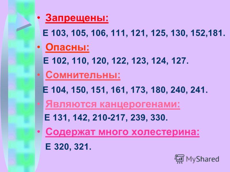 Запрещены: Е 103, 105, 106, 111, 121, 125, 130, 152,181. Опасны: Е 102, 110, 120, 122, 123, 124, 127. Сомнительны: Е 104, 150, 151, 161, 173, 180, 240, 241. Являются канцерогенами: Е 131, 142, 210-217, 239, 330. Содержат много холестерина: Е 320, 321