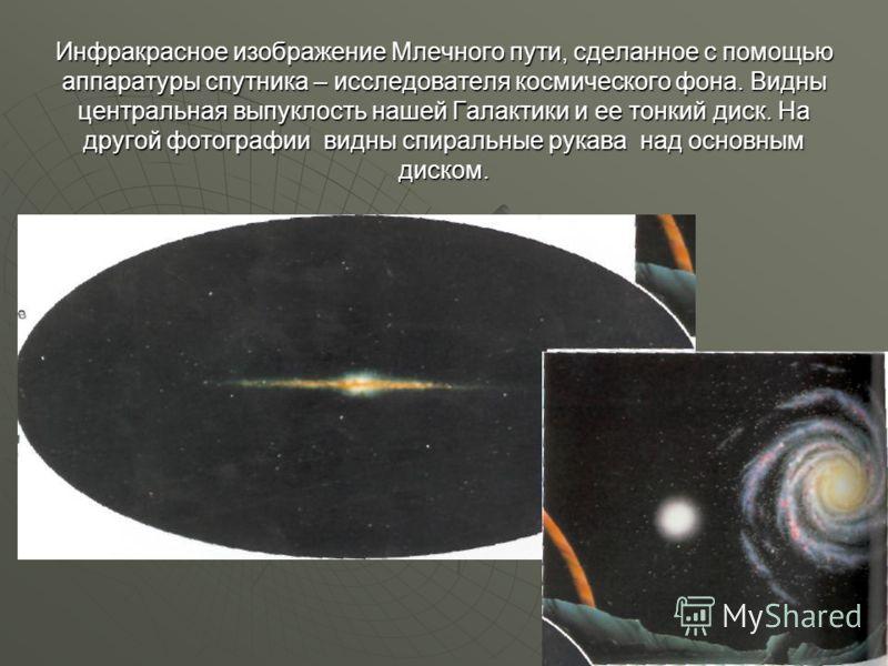 Инфракрасное изображение Млечного пути, сделанное с помощью аппаратуры спутника – исследователя космического фона. Видны центральная выпуклость нашей Галактики и ее тонкий диск. На другой фотографии видны спиральные рукава над основным диском.