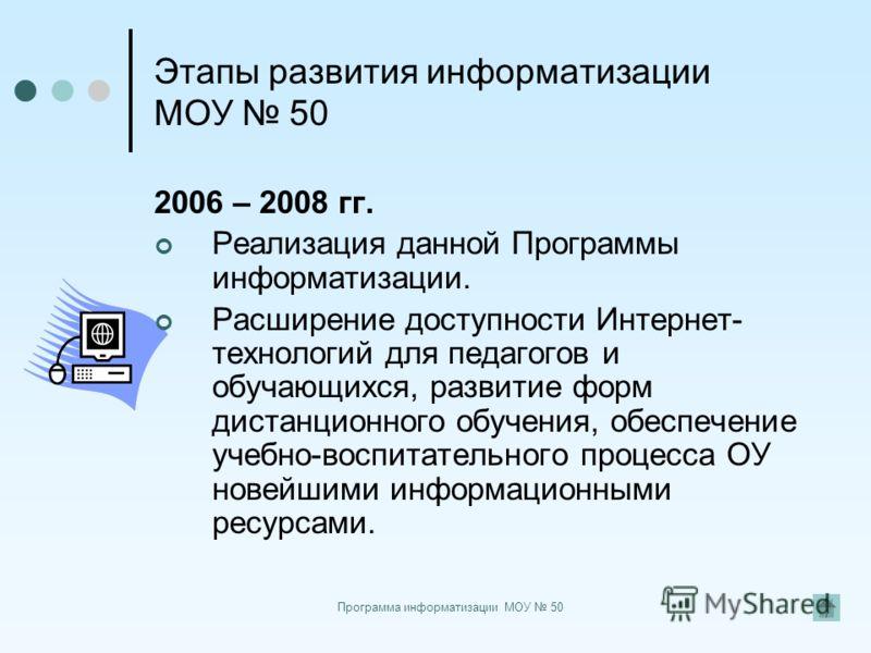Программа информатизации МОУ 50 Этапы развития информатизации МОУ 50 2006 – 2008 гг. Реализация данной Программы информатизации. Расширение доступности Интернет- технологий для педагогов и обучающихся, развитие форм дистанционного обучения, обеспечен