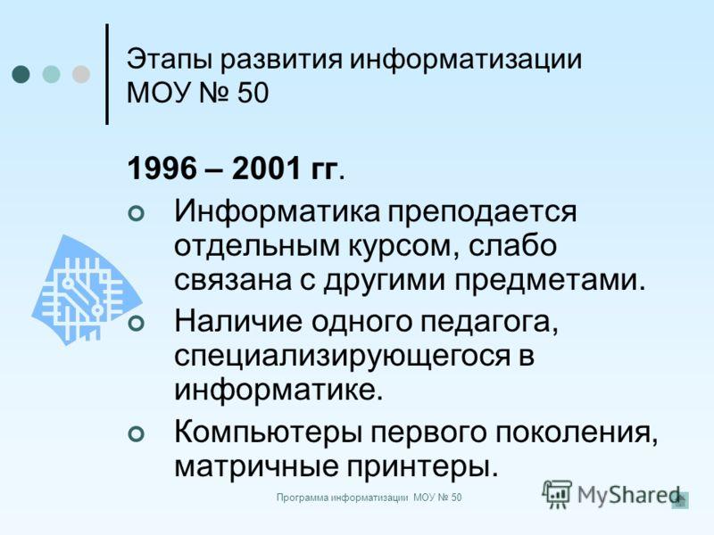Программа информатизации МОУ 50 Этапы развития информатизации МОУ 50 1996 – 2001 гг. Информатика преподается отдельным курсом, слабо связана с другими предметами. Наличие одного педагога, специализирующегося в информатике. Компьютеры первого поколени
