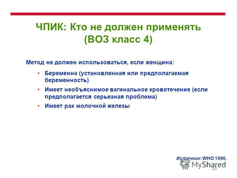 13 ЧПИК: Кто не должен применять (ВОЗ класс 4) Метод не должен использоваться, если женщина: Беременна (установленная или предполагаемая беременность) Имеет необъяснимое вагинальное кровотечение (если предполагается серьезная проблема) Имеет рак моло