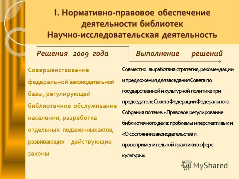 I. Нормативно - правовое обеспечение деятельности библиотек Научно - исследовательская деятельность Решения 2009 годаВыполнение решений Совершенствование федеральной законодательной базы, регулирующей библиотечное обслуживание населения, разработка о