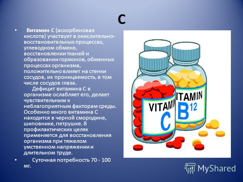 С Витамин С (аскорбиновая кислота) участвует в окислительно- восстановительных процессах, углеводном обмене, восстановлении тканей и образовании гормонов, обменных процессах организма, положительно влияет на стенки сосудов, их проницаемость, в том чи