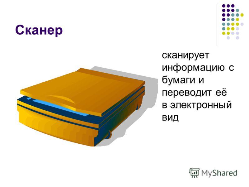Сканер сканирует информацию с бумаги и переводит её в электронный вид