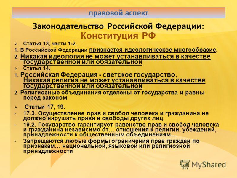 Законодательство Российской Федерации: Конституция РФ Статья 13, части 1-2. 1. В Российской Федерации признается идеологическое многообразие. 2. Никакая идеология не может устанавливаться в качестве государственной или обязательной Статья 14. 1. Росс