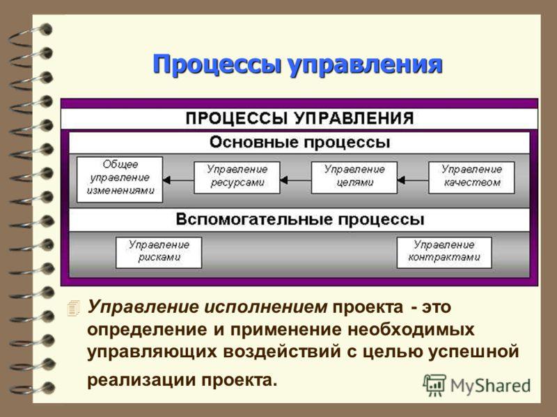 Процессы управления 4 Управление исполнением проекта - это определение и применение необходимых управляющих воздействий с целью успешной реализации проекта.