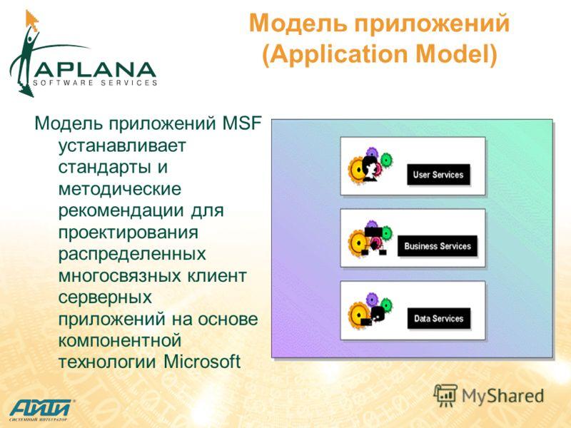 Модель приложений (Application Model) Модель приложений MSF устанавливает стандарты и методические рекомендации для проектирования распределенных многосвязных клиент серверных приложений на основе компонентной технологии Microsoft