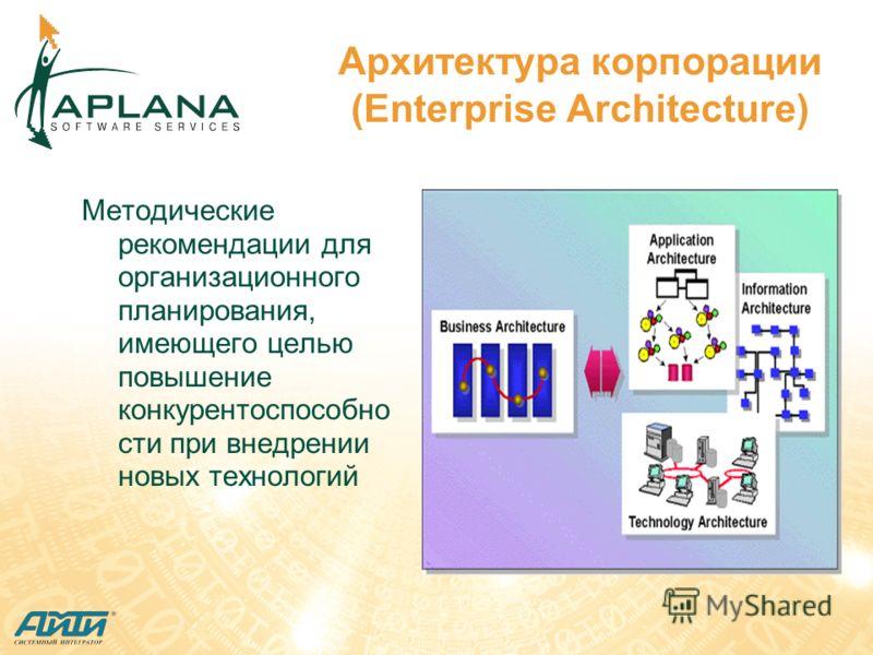 Архитектура корпорации (Enterprise Architecture) Методические рекомендации для организационного планирования, имеющего целью повышение конкурентоспособно сти при внедрении новых технологий