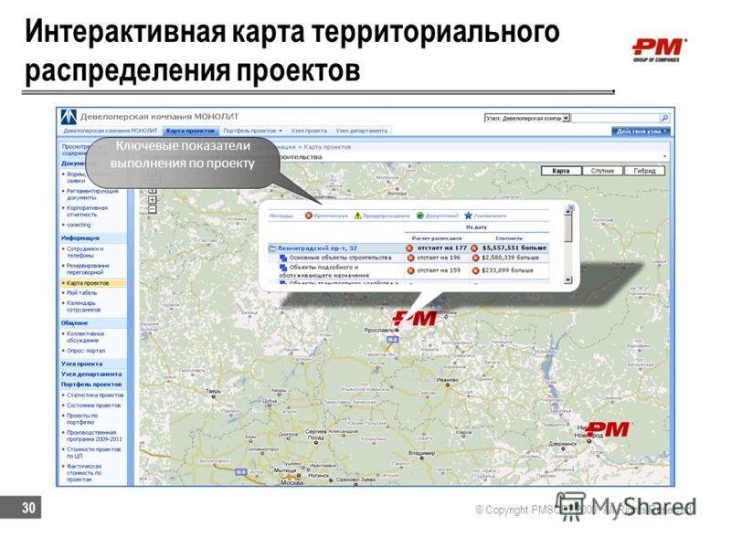Интерактивная карта территориального распределения проектов © Copyright PMSOFT 2009. All Rights Reserved 30 Ключевые показатели выполнения по проекту