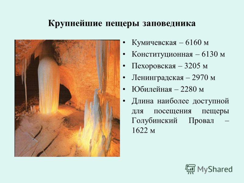 Крупнейшие пещеры заповедника Кумичевская – 6160 м Конституционная – 6130 м Пехоровская – 3205 м Ленинградская – 2970 м Юбилейная – 2280 м Длина наиболее доступной для посещения пещеры Голубинский Провал – 1622 м