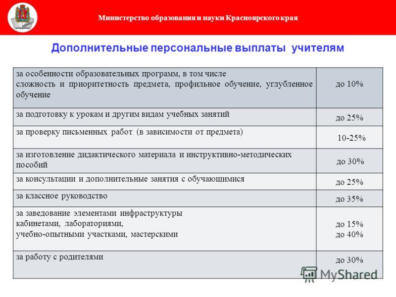 Министерство образования и науки Красноярского края Дополнительные персональные выплаты учителям за особенности образовательных программ, в том числе сложность и приоритетность предмета, профильное обучение, углубленное обучение до 10% за подготовку