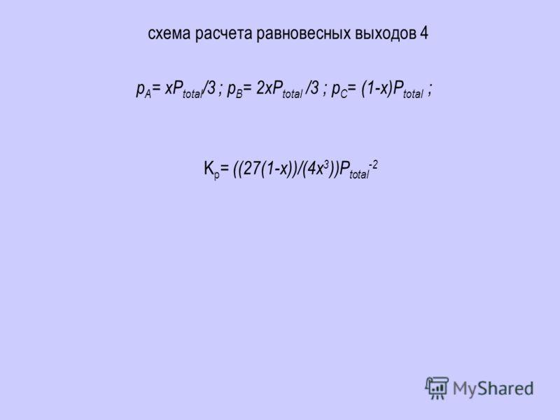 схема расчета равновесных выходов 4 p A = xP total /3 ; p B = 2xP total /3 ; p C = (1-x)P total ; K p = ((27(1-x))/(4x 3 ))P total -2