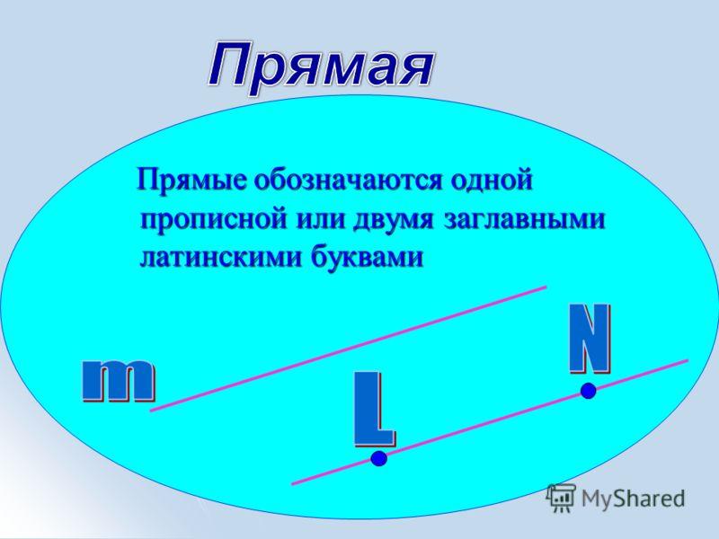 Прямые обозначаются одной прописной или двумя заглавными латинскими буквами Прямые обозначаются одной прописной или двумя заглавными латинскими буквами