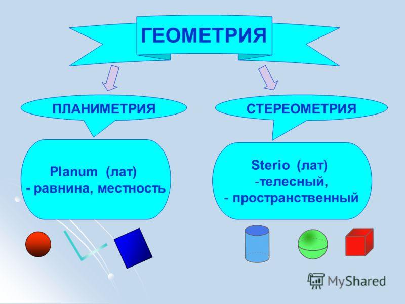 ГЕОМЕТРИЯ ПЛАНИМЕТРИЯСТЕРЕОМЕТРИЯ Planum (лат) - равнина, местность Sterio (лат) -телесный, - пространственный