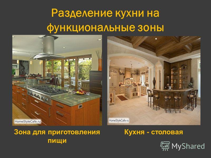Разделение кухни на функциональные зоны Зона для приготовления пищи Кухня - столовая
