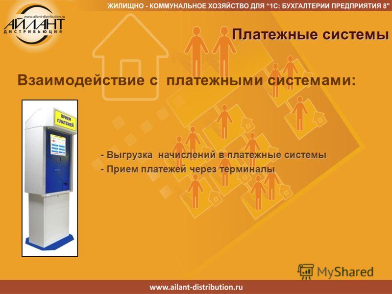 Взаимодействие с платежными системами: Платежные системы Платежные системы - Выгрузка начислений в платежные системы - Прием платежей через терминалы