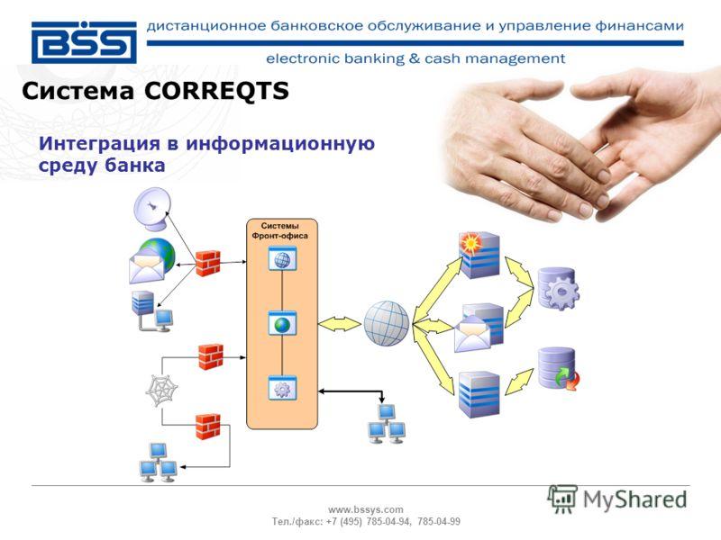 www.bssys.com Тел./факс: +7 (495) 785-04-94, 785-04-99 Система CORREQTS Интеграция в информационную среду банка