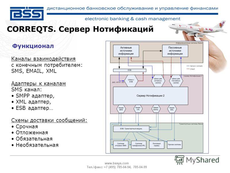 www.bssys.com Тел./факс: +7 (495) 785-04-94, 785-04-99 Функционал CORREQTS. Сервер Нотификаций Каналы взаимодействия с конечным потребителем: SMS, EMAIL, XML Адаптеры к каналам SMS канал: SMPP адаптер, XML адаптер, ESB адаптер… Схемы доставки сообщен
