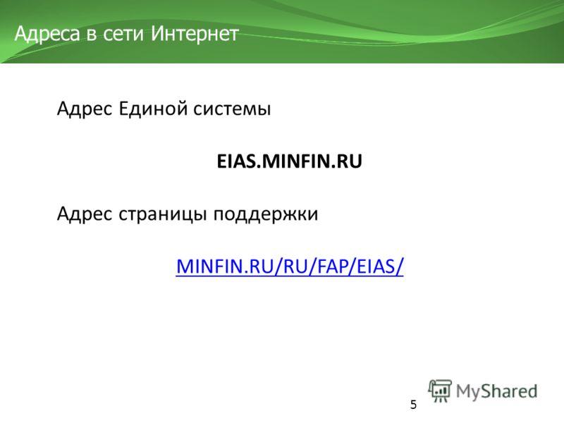 5 Адреса в сети Интернет Адрес Единой системы EIAS.MINFIN.RU Адрес страницы поддержки MINFIN.RU/RU/FAP/EIAS/