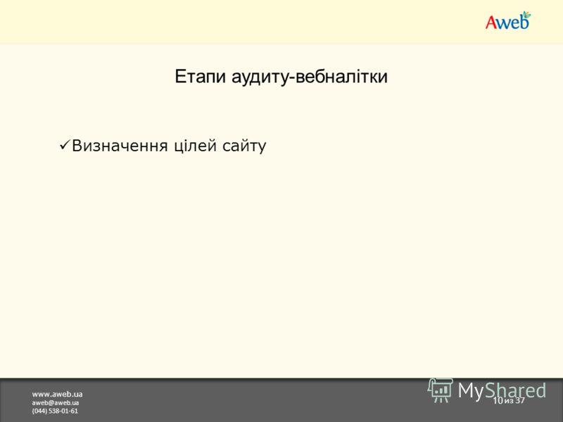 www.aweb.ua aweb@aweb.ua (044) 538-01-61 10 из 37 Етапи аудиту-вебналітки Визначення цілей сайту