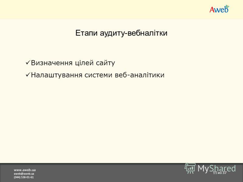 www.aweb.ua aweb@aweb.ua (044) 538-01-61 11 из 37 Етапи аудиту-вебналітки Визначення цілей сайту Налаштування системи веб-аналітики