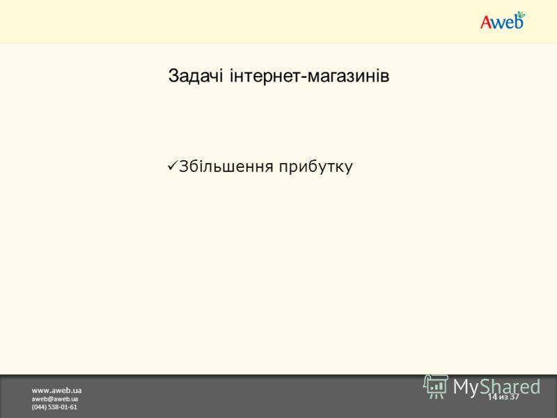 www.aweb.ua aweb@aweb.ua (044) 538-01-61 14 из 37 Задачі інтернет-магазинів Збільшення прибутку