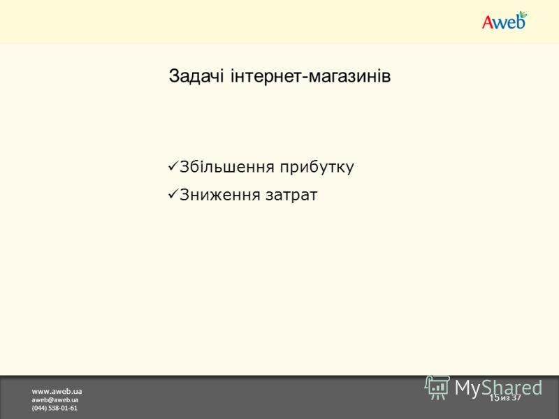 www.aweb.ua aweb@aweb.ua (044) 538-01-61 15 из 37 Задачі інтернет-магазинів Збільшення прибутку Зниження затрат