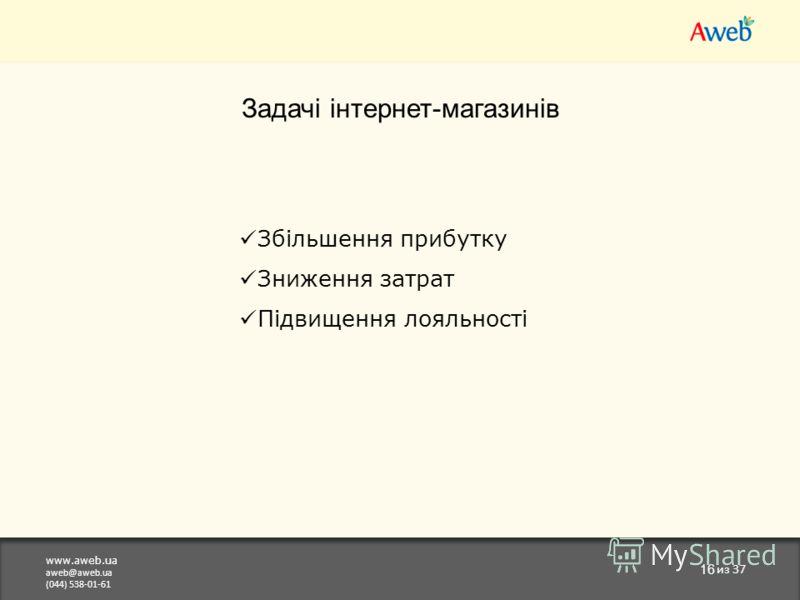 www.aweb.ua aweb@aweb.ua (044) 538-01-61 16 из 37 Задачі інтернет-магазинів Збільшення прибутку Зниження затрат Підвищення лояльності