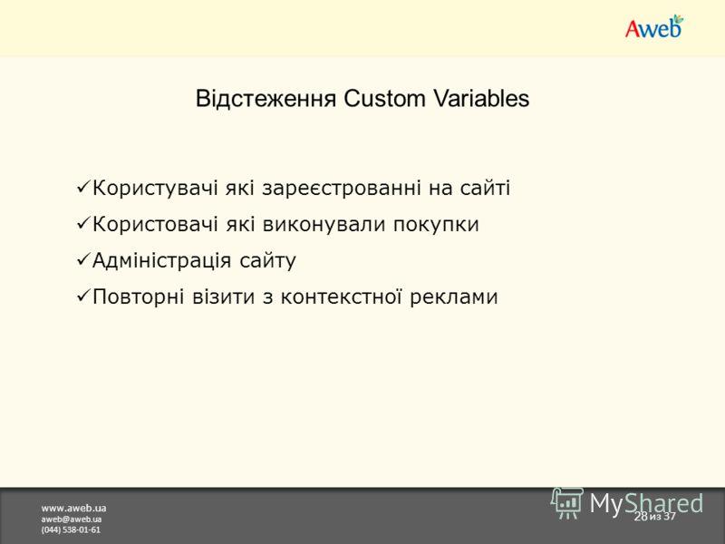 www.aweb.ua aweb@aweb.ua (044) 538-01-61 28 из 37 Відстеження Custom Variables Користувачі які зареєстрованні на сайті Користовачі які виконували покупки Адміністрація сайту Повторні візити з контекстної реклами
