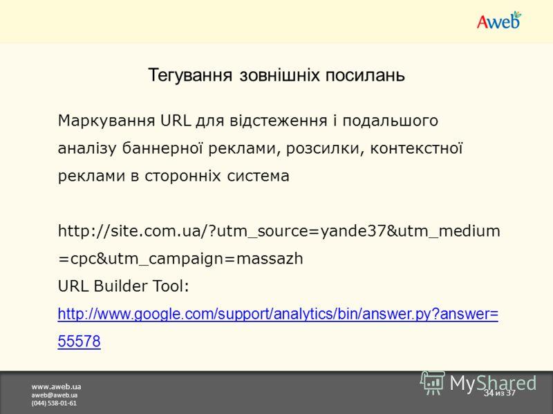 www.aweb.ua aweb@aweb.ua (044) 538-01-61 34 из 37 Тегування зовнішніх посилань Маркування URL для відстеження і подальшого аналізу баннерної реклами, розсилки, контекстної реклами в сторонніх система http://site.com.ua/?utm_source=yande37&utm_medium