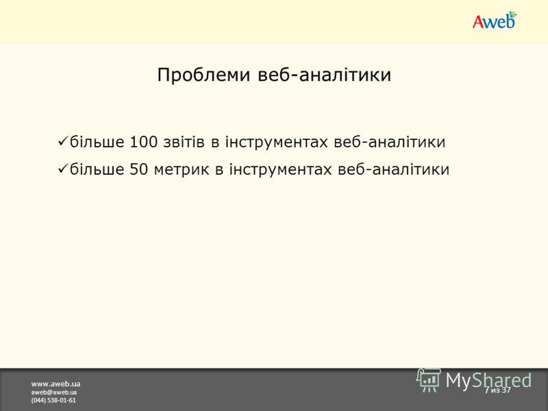 www.aweb.ua aweb@aweb.ua (044) 538-01-61 7 из 37 Проблеми веб-аналітики більше 100 звітів в інструментах веб-аналітики більше 50 метрик в інструментах веб-аналітики