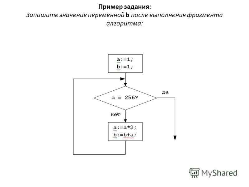 Пример задания: Запишите значение переменной b после выполнения фрагмента алгоритма: