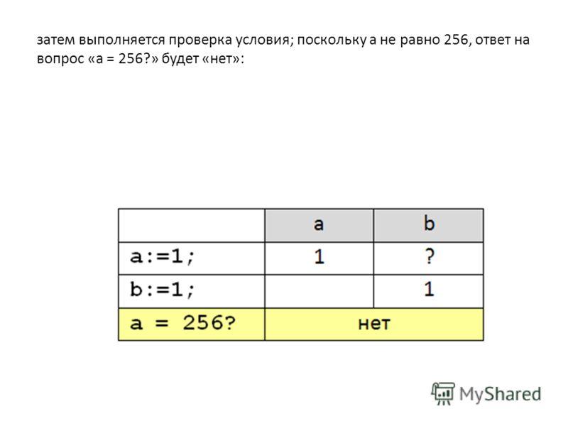 затем выполняется проверка условия; поскольку а не равно 256, ответ на вопрос «a = 256?» будет «нет»: