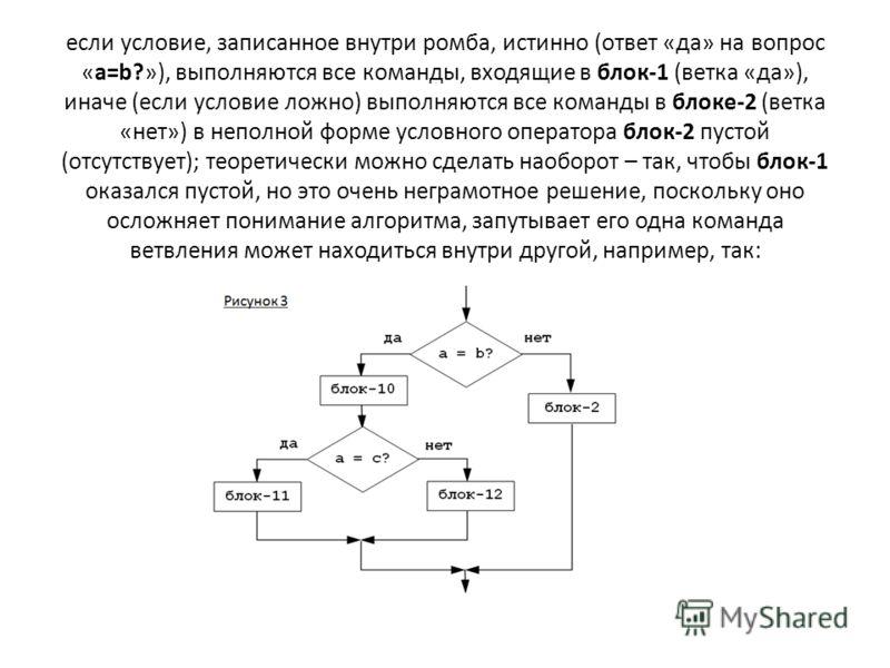 если условие, записанное внутри ромба, истинно (ответ «да» на вопрос «a=b?»), выполняются все команды, входящие в блок-1 (ветка «да»), иначе (если условие ложно) выполняются все команды в блоке-2 (ветка «нет») в неполной форме условного оператора бло