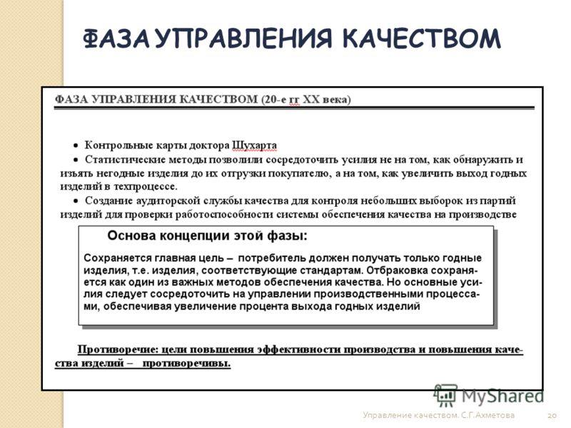 Управление качеством. С. Г. Ахметова 20 ФАЗА УПРАВЛЕНИЯ КАЧЕСТВОМ