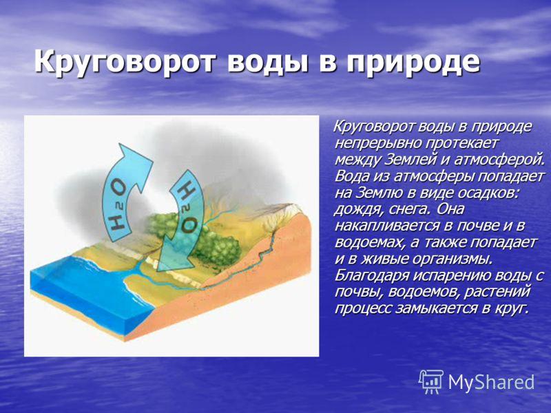 Круговорот воды в природе Круговорот воды в природе непрерывно протекает между Землей и атмосферой. Вода из атмосферы попадает на Землю в виде осадков: дождя, снега. Она накапливается в почве и в водоемах, а также попадает и в живые организмы. Благод