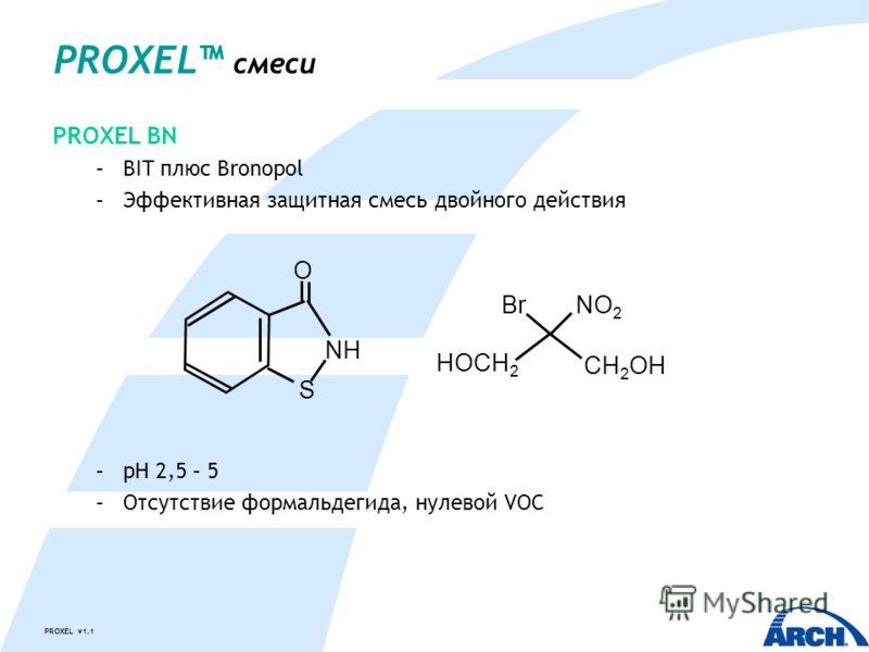 PROXEL v1.1 PROXEL BN –BIT плюс Bronopol –Эффективная защитная смесь двойного действия –pH 2,5 – 5 –Отсутствие формальдегида, нулевой VOC PROXEL смеси CH 2 OH BrNO 2 HOCH 2 S O NH