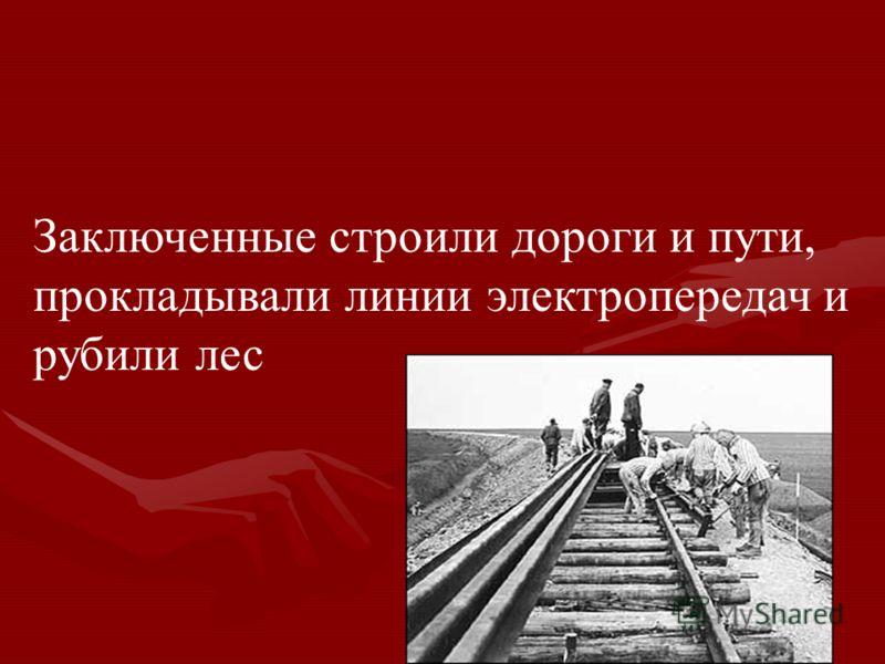 Заключенные строили дороги и пути, прокладывали линии электропередач и рубили лес