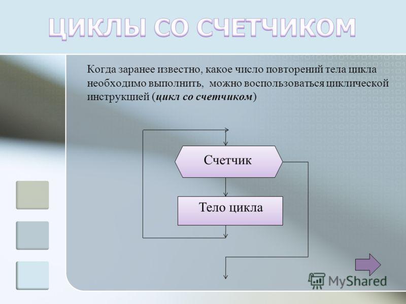 Когда заранее известно, какое число повторений тела цикла необходимо выполнить, можно воспользоваться циклической инструкцией (цикл со счетчиком) Счетчик Тело цикла