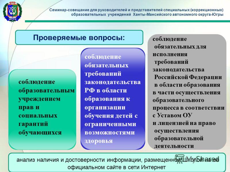 соблюдение обязательных для исполнения требований законодательства Российской Федерации в области образования в части осуществления образовательного процесса в соответствии с Уставом ОУ и лицензией на право осуществления образовательной деятельности