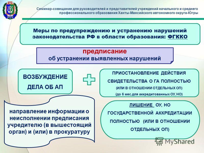 Семинар-совещание для руководителей и представителей учреждений начального и среднего профессионального образования Ханты-Мансийского автономного округа-Югры Меры по предупреждению и устранению нарушений законодательства РФ в области образования: ФГК