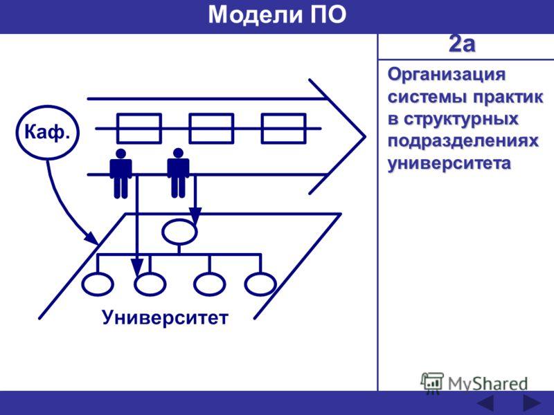 Организация системы практик в структурных подразделениях университета Модели ПО 2а