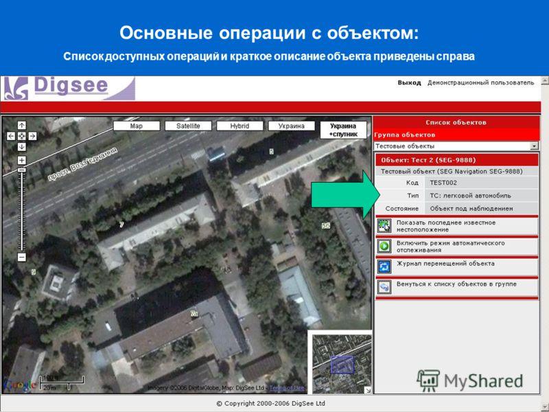 Основные операции с объектом: Список доступных операций и краткое описание объекта приведены справа