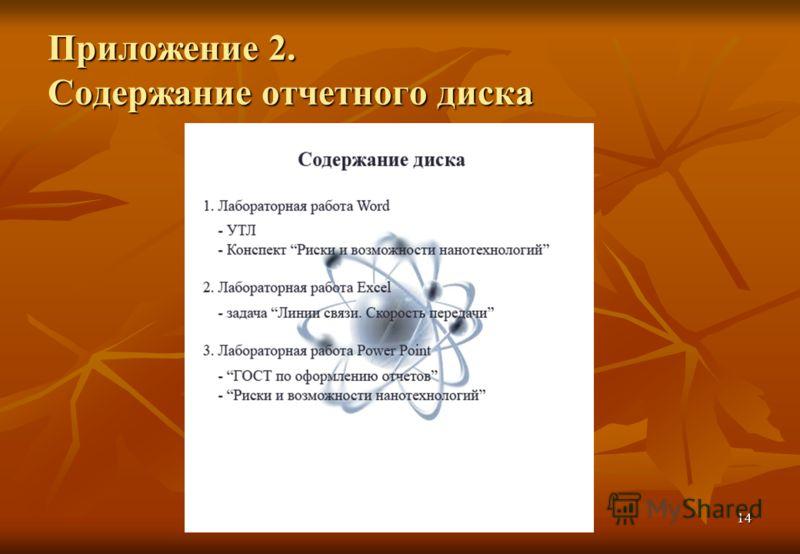 14 Приложение 2. Содержание отчетного диска