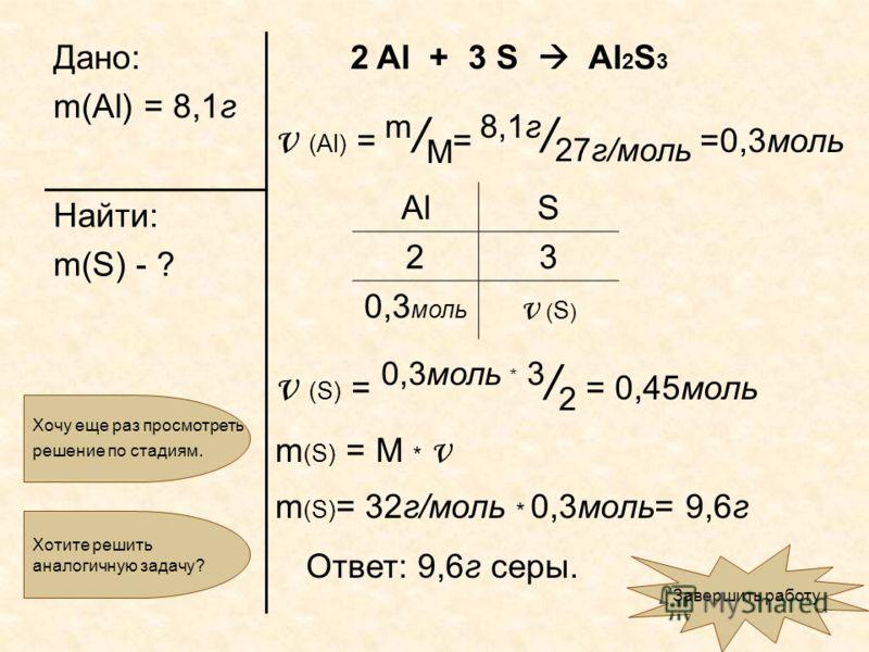 Дано: m(Al) = 8,1г 2 Al + 3 S Al 2 S 3 ν (Al) = m / M = 8,1г / 27г/моль =0,3моль ν (S) = 0,3моль * 3 / 2 = 0,45моль m (S) = M * ν m (S) = 32г/моль * 0,3моль= 9,6г Ответ: 9,6г серы. Найти: m(S) - ? Хочу еще раз просмотреть решение по стадиям. Завершит