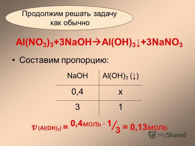 Al(NO 3 ) 3 +3NaOH Al(OH) 3+3NaNO 3 Составим пропорцию: ν (Al(OH) 3 ) = 0,4 моль * 1 / 3 = 0,13моль Продолжим решать задачу как обычно NaOHAl(OH) 3 () 0,4х 31