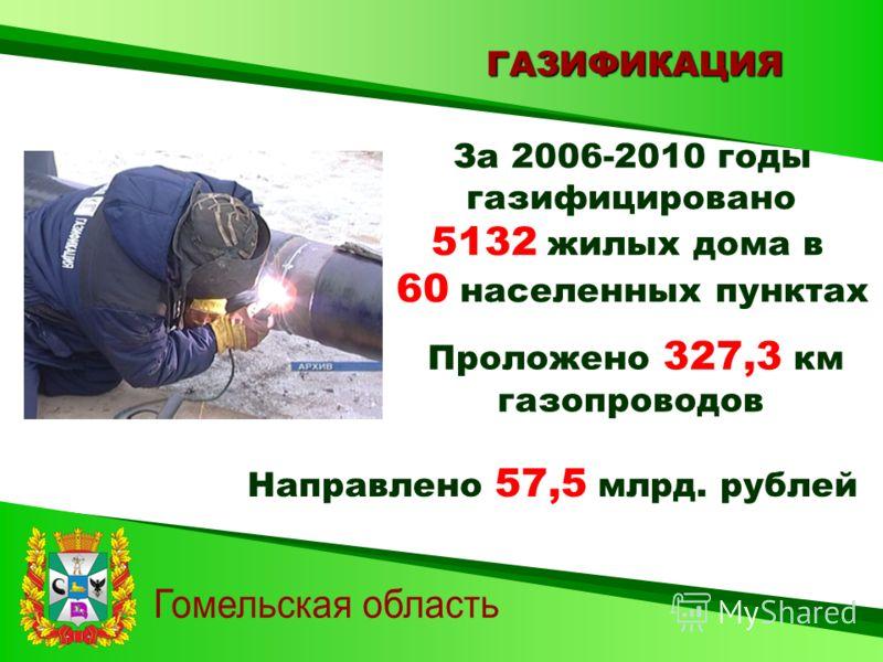 ГАЗИФИКАЦИЯ За 2006-2010 годы газифицировано 5132 жилых дома в 60 населенных пунктах Проложено 327,3 км газопроводов Направлено 57,5 млрд. рублей