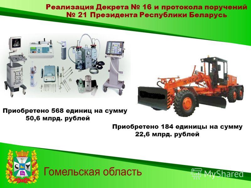 Реализация Декрета 16 и протокола поручений 21 Президента Республики Беларусь Приобретено 568 единиц на сумму 50,6 млрд. рублей Приобретено 184 единицы на сумму 22,6 млрд. рублей